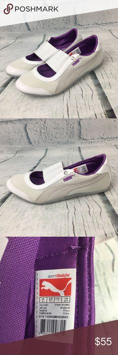 Puma Eco Ortholite Sneakerinas Flats Size 7 These Puma Eco Ortholite Ballerina sneakers are NWOT. Puma Ortholite are extremely comfortable, lightweight and stylish.  These shoes are white and gray with purple accents.  Size 7 Puma Shoes Sneakers