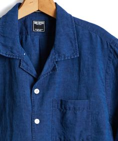 1aaf1cbaacf Short Sleeve Camp Collar Indigo Linen Shirt Collar Shirts