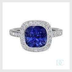 #Bague #Fiancaille #Alliance #Solitaire #Mariage #Gatsby #Saphir #Coussin 0,80 carats #Couleur #Bleu Profond #Diamantsetcarats #13 rue Portefoin