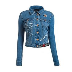 ASK 4 JEANS Women Crop Denim Jacket with printed patches ...
