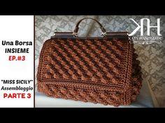 """Tutorial crochet bag """"Miss Sicily"""" Free Crochet Bag, Crochet Diy, Bead Crochet, Crochet Handbags, Crochet Purses, Crochet Designs, Crochet Patterns, Purse Patterns, Crochet Videos"""