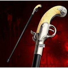 Flintlock Sword Cane Victorian Gun Handle Walking Stick