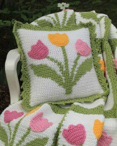 Tulip Afghan and Pillow Set Crochet Pattern [PB134] - $6.39 : Maggie Weldon, Free Crochet Patterns