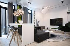 Ötletes háló és dolgozósarok leválasztás tolóajtóval egy fiatal pár kis lakásában - világos dekoráció és kis zöldfal