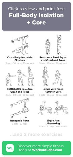 Free workout: Full-Body Isolation + Core – 50-min abs, back, legs, shoulders exercise routine. Try it now or download as a printable PDF! Browse more training plans and create your own exercise programs with #WorkoutLabsFit · #AbsWorkout #BackWorkout #LegsWorkout #ShouldersWorkout Don't need to go to the gym, just use your bodyweight and take a few minutes a day, 30 Day Weight Loss Challenge will greatly help to get a perfect bikini body! Whole Body Workouts, Leg Day Workouts, Ab Workout At Home, At Home Workouts, Perfect Bikini Body, Perfect Body, Free Workout, Workout Ideas, Training Plan