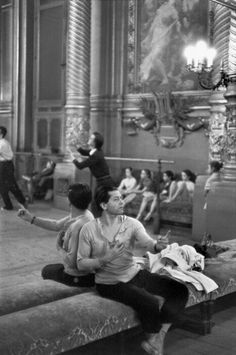 The Palais Garnier opera house  Ballet dancer and choreographer Serge Lifar - Paris 1954 Henri Cartier-Bresson