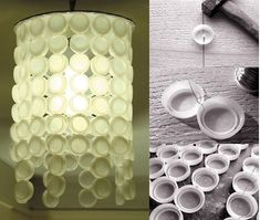 HOW TO MAKE A LIGHT PLASTIC BOTTLE CAPS - creative clever recycled pendant light lamp funky cool awesome eco. Paint the caps in a transparent-ish color-- like the way everyone makes those Mason jars that pretty transparent blue Plastic Bottle Caps, Bottle Cap Art, Cute Crafts, Crafts To Make, Diy Crafts, Bottle Cap Projects, Candle Lamp, Recycled Crafts, Lamp Light