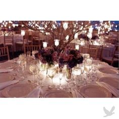 centerpiece with votive hanging candles