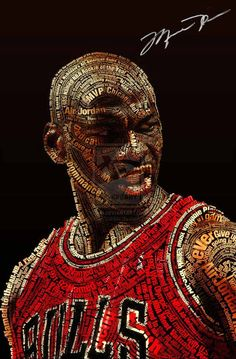 Michael Jordan is a former American basketball player who led the Chicago Bulls to six NBA championships and won the Most Valuable Player Award five times. Typography Portrait, Cool Typography, Basketball Art, Basketball Players, Jordan Basketball, Basketball Design, Basketball Jones, Basketball History, Nba Players