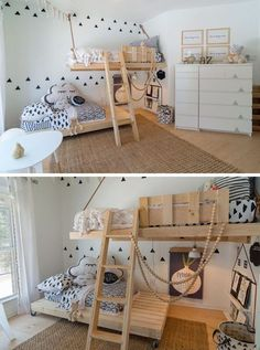This gender neutral kids room features bright white walls, Scandinavian inspired decor and custom made wooden beds. The bottom bed even has wheels on it so that it can be moved around when needed.