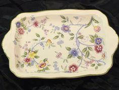 Andrea by Sadek Japan Corona Serving Dish Tray Floral Garden Retired 7.25x4.875 #AndreabySadek