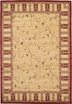 Versailles Beige/Red Area Rug