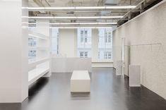 Studio David Thulstrup is an architecture, interior and design practice based in Copenhagen, Denmark. Interior Concept, Interior Design, Curved Walls, Aluminum Table, Department Store, Retail Design, Copenhagen, Interior Architecture, Custom Design