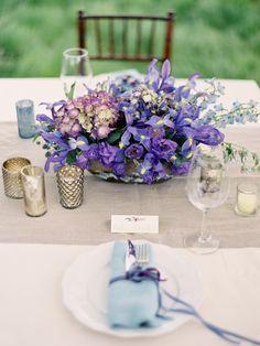 Purple centerpiece | Photography by josevillaphoto.com Floral + Event Design by joythigpen.com