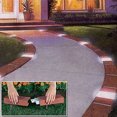 Decor Hacks : Solar Brick Edging by melva -Read More – - Front Yard Walkway, Front Yard Landscaping, Backyard Patio, Landscaping Ideas, Front Yards, Sidewalk Landscaping, Driveway Edging, Brick Driveway, Landscape Lighting