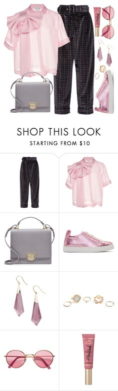 """""""Fun Size Bag 🌸"""" by jaeim ❤ liked on Polyvore featuring Isa Arfen, Dice Kayek, Smythson, Sophia Webster, Alexis Bittar, GUESS, H&M, Too Faced Cosmetics and minibags"""