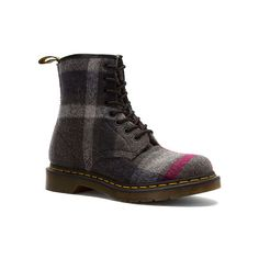 Dr. Martens Castel 8 Eye Boot ($130) ❤ liked on Polyvore featuring shoes, boots, women, genuine leather shoes, leather shoes, leather boots, dr martens footwear and real leather shoes