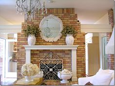 Like this idea, maybe w/a dark wood instead to offset the brick