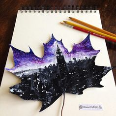 """Drawing In This artist uses fallen leaves to create stunning paintings. """"I wanted to say that we don't have to cut trees to have paper for drawing or painting,"""" - Her work is creative, but it also sends a message. Amazing Drawings, Cool Drawings, Amazing Art, Pencil Drawings, Awesome Paintings, Pencil Sketching, Detailed Drawings, Realistic Drawings, Beautiful Paintings"""