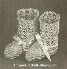 Free Crochet Baby Booties Pattern - Use this baby booties pattern to make a pair of booties for an infant. They have a bow that makes them more cute than normal!