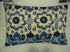 BLUES. Navy,Aqua, Royal Blue. Natural. IKAT flower. Pillow Covers.Home Decor. Product ID# P0360 by GamGamzhandcrafted on Etsy