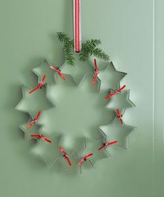 We bet you could finish this DIY in 15 minutes tops: Just use red ribbon to string star-shaped cutters together. Even people who consider themselves crafting-challenged can pull this one off. This Makes the Easiest Wreath Ever!