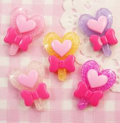 5 x Glitter Heart Lolly Lollypop Flat Back Cabochons Decoden Kawaii