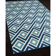 Indoor/ Outdoor Blocks Rug (6'7 x 9'6) - Free Shipping Today - Overstock.com - 15430111 - Mobile