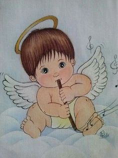 Art Sketches, Art Drawings, I Believe In Angels, Baby Clip Art, Baby Embroidery, Angel Crafts, Christmas Paintings, Angel Art, Drawing For Kids