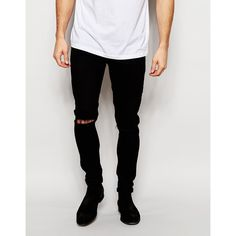 ASOS Super Skinny Jeans With Knee Rips ($45) ❤ liked on Polyvore featuring men's…