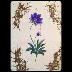 Purple Anemone Marbling Artist Firdevs Çalkanoğlu