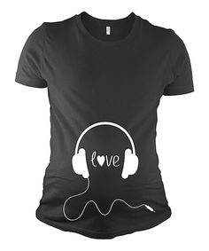 Another great find on #zulily! Crazy Dog Black Headphones 'Love' Maternity Tee by Crazy Dog #zulilyfinds