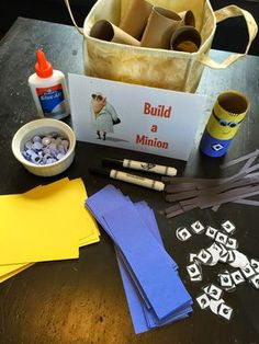 """Build a Minion"" kids craft for a minion party activity.  Click or visit fabeveryday.com for more photos and details from this Despicable Me Minions themed birthday party."