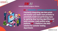 Choose the right customer by analyzing their credit profiles by the help of EM AI Platform. EM AI Platform identifies customer's credit scores and provide plans according to it. Apply EM AI Platform in your banking sector now!   #EMAIPlatform #artificialintelligence #automation #machinelearning #ai #ml #products #service #technology #bank #loans #creditscore #istanbul #sanfrancisco #newyork #london Bank Loans, Deep Learning, Data Science, Credit Score, Artificial Intelligence, Machine Learning, Scores, Ems, Istanbul