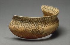 Guzana. ca 7000-6000 BC Halaf pottery is remarkable for the quality of its production. As a result, it often survives at sites even though thin walled. Created long before the invention of the potter's wheel & refined glazes. Tel Halaf bowl fragment with rim. Syria