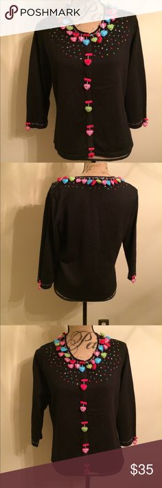 💚💛Jack B Quick Heart theme sweater💜💙 🎉 Jack B Quick 🎉 Size medium 🎉 Only worn once 🎉 Beaded & bedazzled  🎉 Please ask for additional pictures, measurements, or ask questions before purchase. 🎉 No trades or other apps 🎉 Ships next business day, unless noted in my closet  🎉 Bundle for discount Jack B Quick Sweaters Cardigans