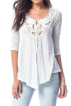 Camiseta manga francesa gris jaspeado escote crochet