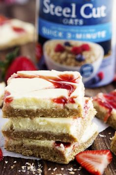 If you're looking for a great dessert recipe, you can't go wrong with this combo of strawberry cheesecake and oatmeal cookie goodness. This Strawberry Swirl Cheesecake Oatmeal Cookie bar recipe is made with Quaker's Quick 3-minute Steel Cut Oats, making it a uniquely hearty treat. Give it a try, and thank us later.