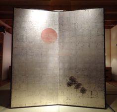 Antique Japanese Two Panels Byobu Screen Silver Leaf