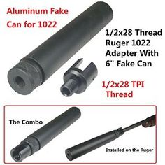 "Amazon.com: FieldSport All Aluminum Ruger 1022 10-22 Muzzle Brake Adapter 1/2x28 Thread, Both Side and Bottom Locking Screws, and 6"" Tube Can Combo, Hard Anodized Surface: Sports & Outdoors"