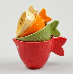 Ceramic Fish Measuring Cup 4Pc Set - Kitschy Kitchen