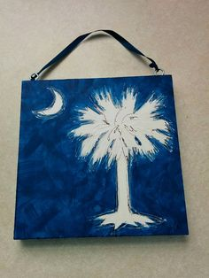 """Blue South Carolina Palm Tree & Crescent Moon, Hand-Painted, 6""""x6"""" Wood Block by BeadsNBrushes on Etsy"""