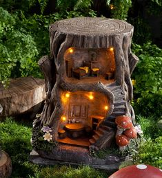 Two-Story Lighted Fairy House in Fairies Dragons and Fantasy Home in a Stump Home for Fairies Outdoor Decoration #miniaturegardens #miniaturefairygardens