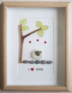 This is a beautiful small Pebble Art framed Picture of a Sheep - I love EWE handmade by myself using Pebbles, Merino Wool , Wood, Red Hearts, Glass Leaves Size of Picture incl Frame : approx. 22cm x 17cm This Picture is only available as shown in Photo Thanks for looking Doris Facebook: https://facebook.com/Pebbleartbyjewlls4u Product Code: P - Turquoise
