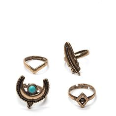 Howl At The Moon Ring Set GOLD ($6.90) ❤ liked on Polyvore featuring jewelry, rings, metal, chevron midi ring, gold mid finger rings, adjustable rings, yellow gold rings and gold charms