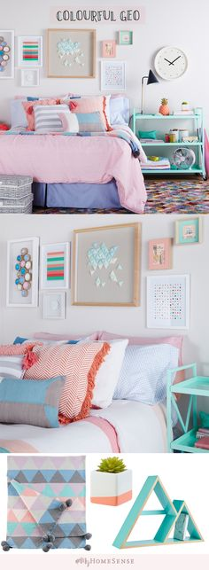 Mix and match complementary colours and geometric shapes to add dimension to a bland dorm room. Adding decorative accessories and artwork goes a long way in transforming the space! Find endless possibilities for dorm room decor at HomeSense today!