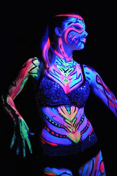 glow in the dark body paint get paint here http://www.sillyfarm.com/store/index.php?p=catalog=707=1 Or use glow in the dark liquid latex found here http://www.liquidlatexstore.com/fluorescent-black-light-body-paint-16-oz.html