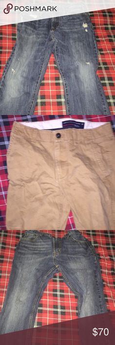 5 pairs of jeans/khakis bundle american eagle 32/32 original straight jeans american eagle 32/32 original straight khakis american eagle 32/30 original straight khakis american eagle 32/32 relaxed fit jeans (back leather tag is cracked) aeropostale 32/30 driggs slim boot $15 a pair or $70 for all 5 (if you want just a couple pairs but not the whole bundle comment which ones you want and make the offer for the amount of pairs) American Eagle Outfitters Jeans Straight
