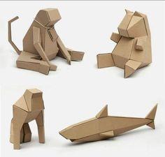 Toy Folder by Rodrigo Solorzano (for makers young and old! Cardboard Model, Cardboard Sculpture, Cardboard Furniture, Cardboard Crafts, Cardboard Castle, Cardboard Design, Cardboard Playhouse, Geometric Shapes Art, Geometric Origami