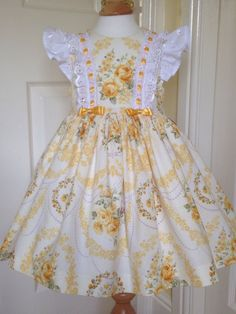 Girls dress age 2 lemon/yellow roses with broderie by LilyrhodesUK Baby Girl Party Dresses, Little Dresses, Baby Outfits, Little Girl Dresses, Pretty Dresses, Kids Outfits, Girls Dresses, Baby Dress Design, Baby Girl Dress Patterns